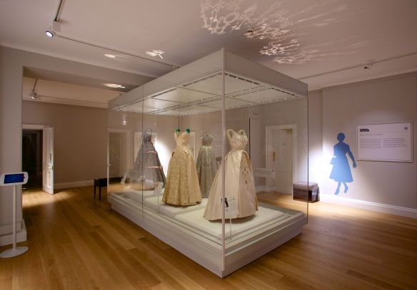 A case of dresses once worn by HM The Queen.