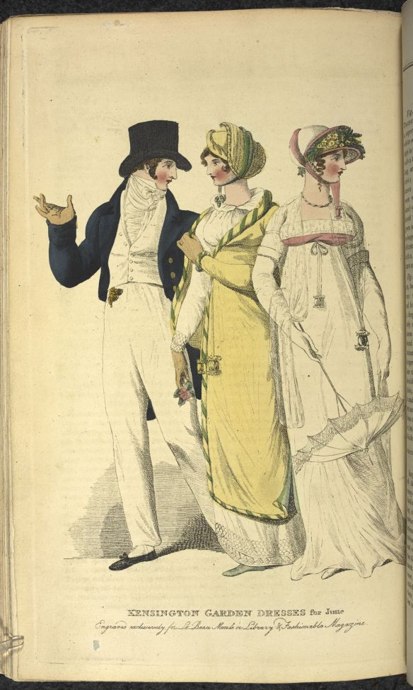 Bourgeoisie wearing examples of the style at the time of the Beau Monde. Photo credit: British Library.